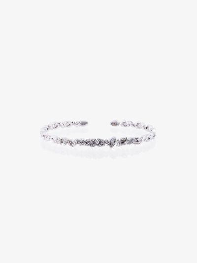18K White Gold Fireworks ZigZag Baguette diamond Bangle