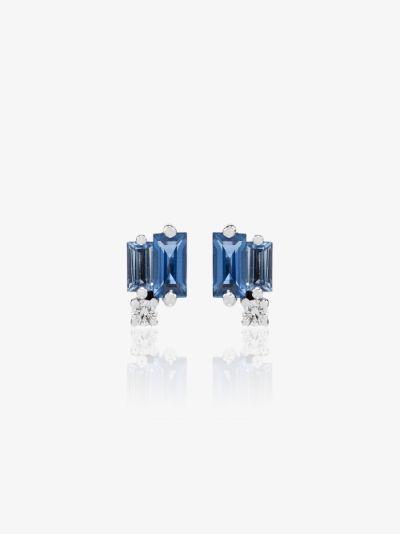18K white gold sapphire and diamond stud earrings