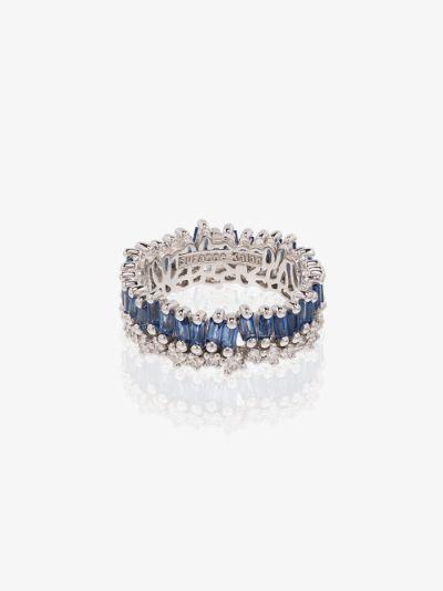 18K white gold Shimmer sapphire diamond eternity ring