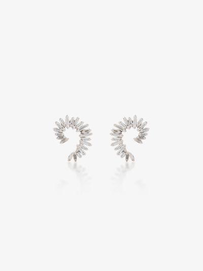 18K white gold spiral diamond earrings