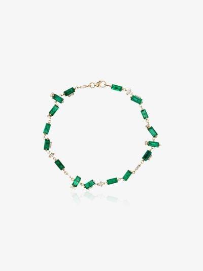 18K yellow gold emerald and diamond tennis bracelet