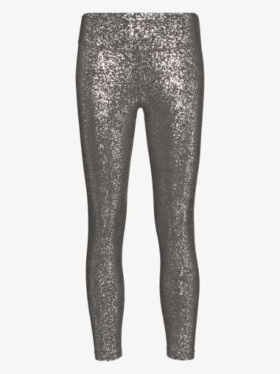 Disco metallic foil print 7/8 leggings