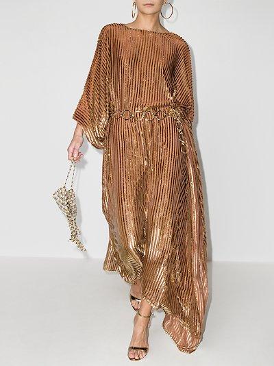 Dalida metallic striped belted dress
