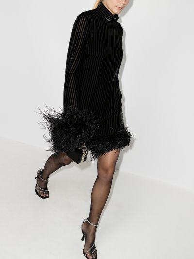 Gina feather trim mini dress