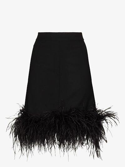Virna feather trim wool skirt