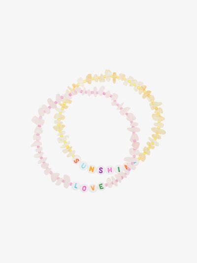 Multicoloured Love Sunshine crystal anklet set