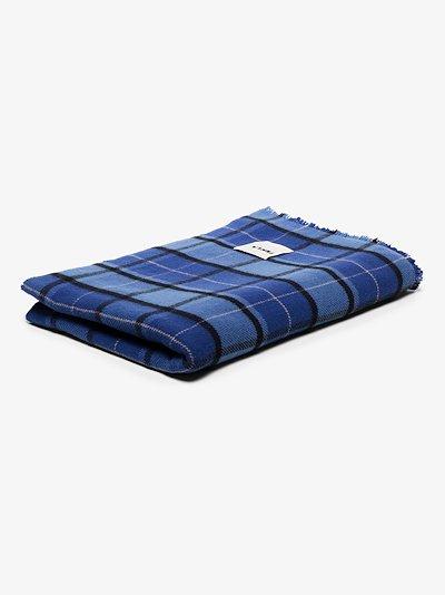Blue Tartan Merino Wool Blanket