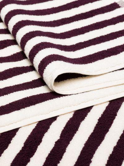 burgundy striped organic terry cotton towel set