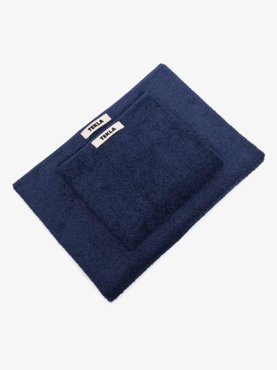 navy organic cotton towel set