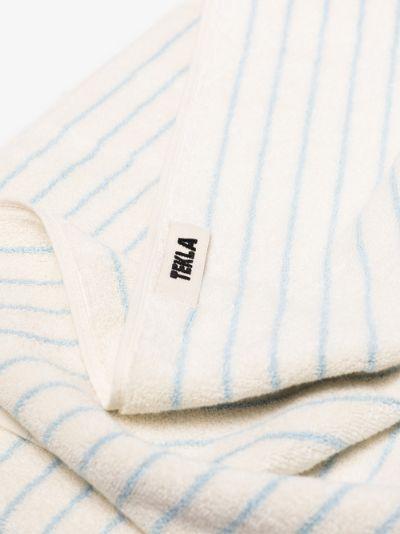 neutral striped organic cotton towel set