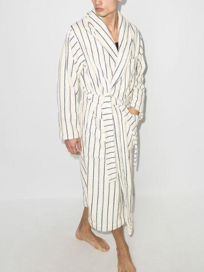 organic terry cotton striped bathrobe