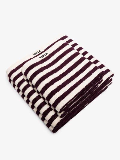 purple and white organic cotton towel set