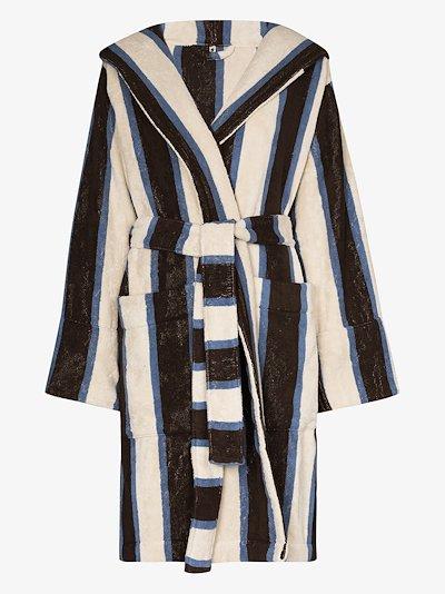 striped organic terry cotton robe