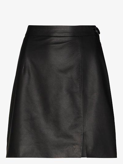 high waist leather mini skirt