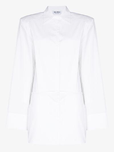 padded shoulder shirt mini dress