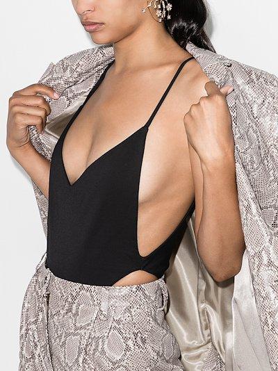 Plunging open back bodysuit