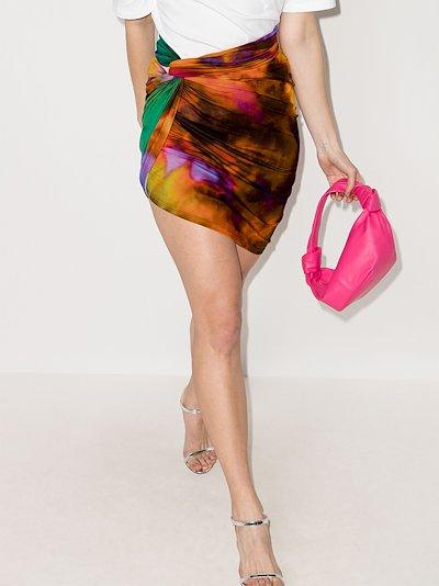 tie-dye ruched mini skirt