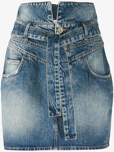 tie waist stonewash denim mini skirt
