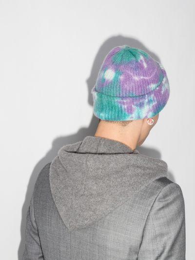 blue Hot Watchman tie-dye cashmere beanie hat