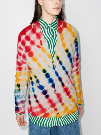 Illusion tie-dye cashmere cardigan