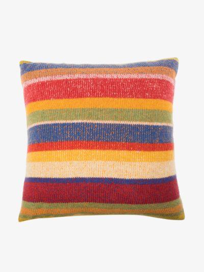 multicoloured super soft striped cashmere cushion