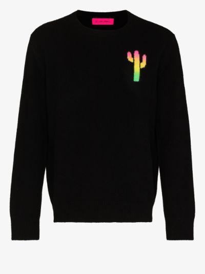 rainbow cactus intarsia cashmere sweater