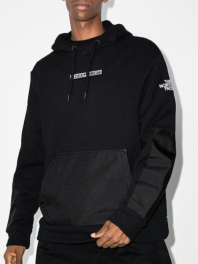 black chest print cotton hoodie