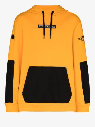yellow chest print cotton hoodie