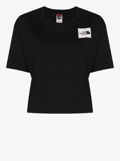 logo patch cropped cotton T-shirt