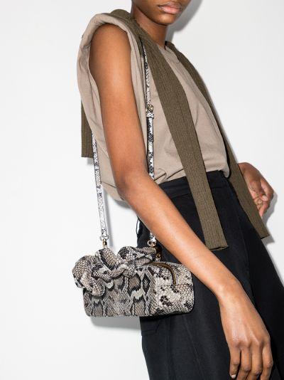 grey Mini Kinchaku snake effect shoulder bag