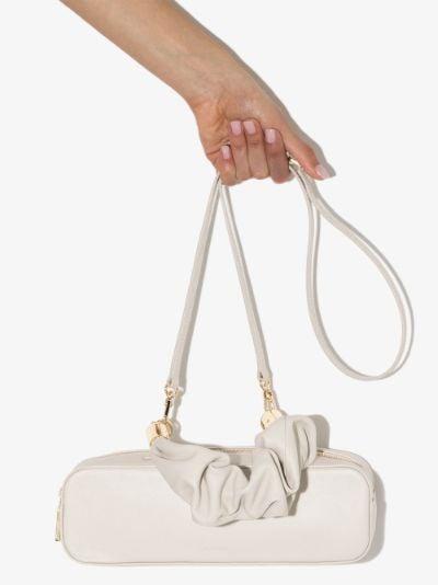 white Mini Kinchaku leather shoulder bag