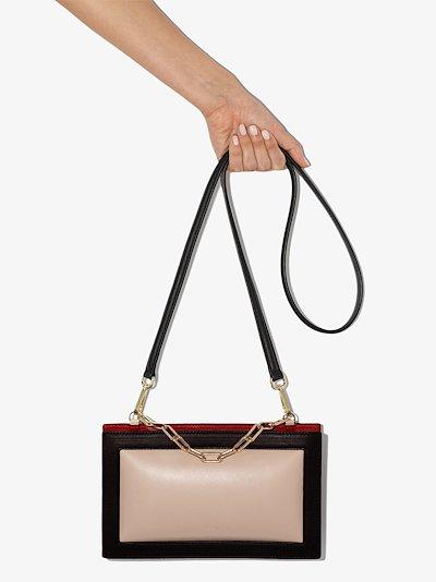White Zabuton frame leather shoulder bag