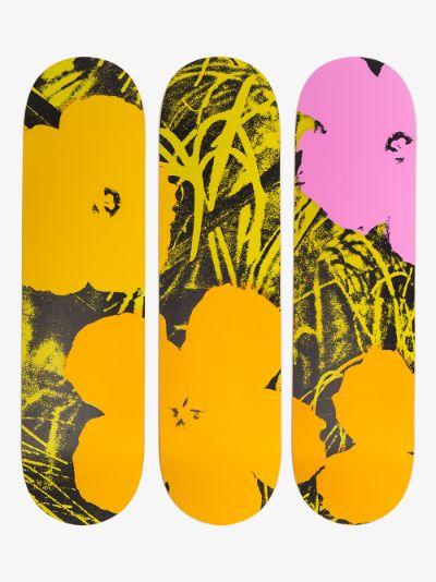 X Andy Warhol multicoloured Flowers skate deck set