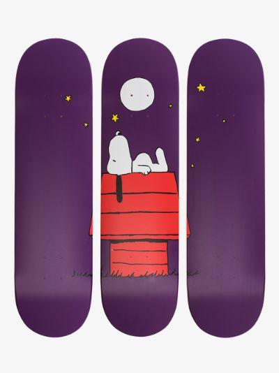 X Rob Pruitt purple Peanuts skate deck set