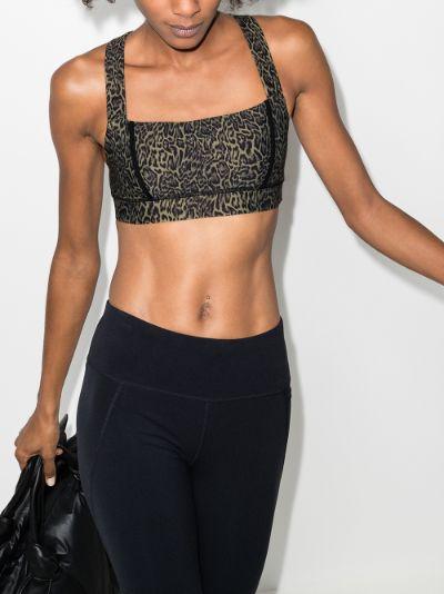 Multicoloured Maria leopard print sports bra