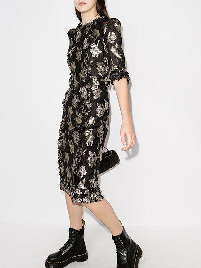 cate floral jacquard ruffle midi dress