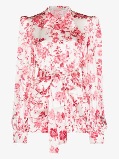 Penitent rose print silk blouse