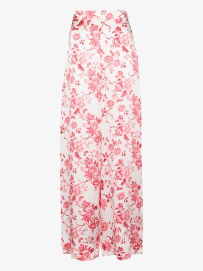 Penitent Rose Print silk Trousers