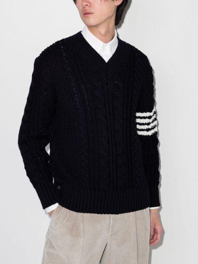 4-Bar Aran cable knit jumper