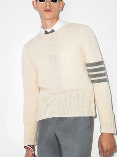 4-Bar crew-neck Shetland wool jumper
