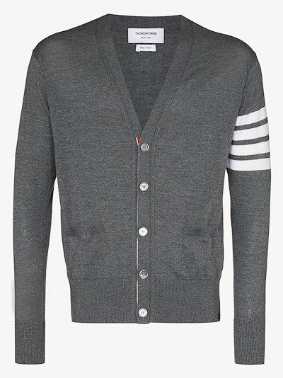 4-bar stripe merino wool cardigan