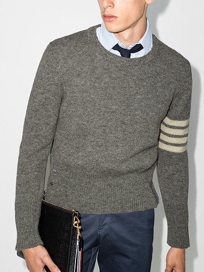 4-Bar Stripe Shetland wool sweater