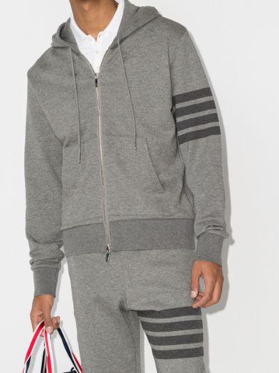4-Bar zip-up loopback-cotton hoodie