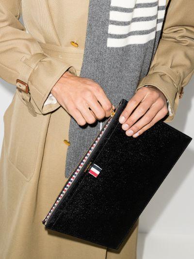 Black Gusset Folio Medium Leather Pouch