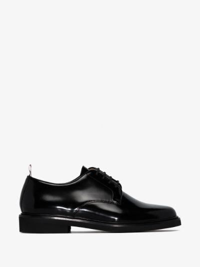 black Uniform patent leather derby shoes