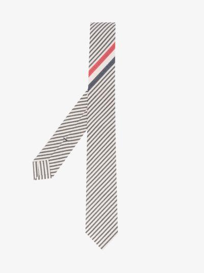 grey and white seersucker striped tie