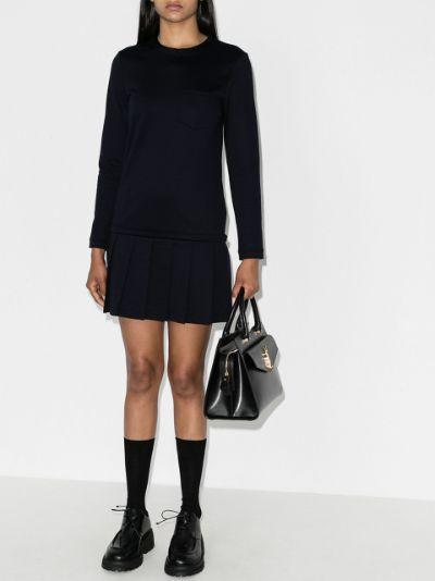 jersey drop waist pleated mini dress