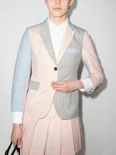 panelled striped seersucker blazer