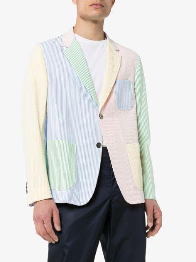 patchwork striped seersucker blazer