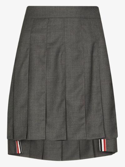 pleated wool mini skirt